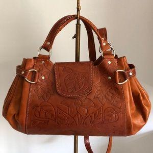 Vintage Leather Embossed Crossbody Bag
